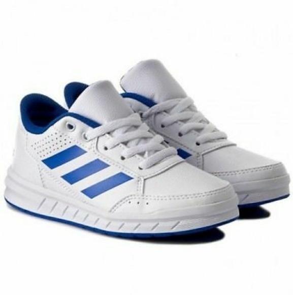 NEW ADIDAS AltaSport K Boys Shoes White Blue Strip 443e78669